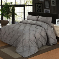 Luxury Bedding Sets Brown/Grey Home Textile Pinch Pleat  2/3pcs Twin/Queen/Double Size Bedclothes Duvet Cover Set