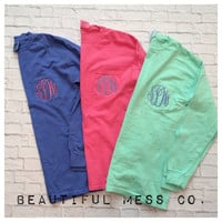 Comfort Colors Monogrammed Pocket Tee