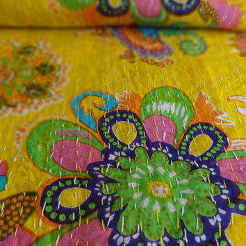 New Print Designer Kantha Bedding, Indian Cotton Bed Cover, Yellow Color Theme, Twin Size Kantha Quilt, Bohemian Floral Bed Cover