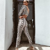 Women two piece outfits Sexy snake print pants