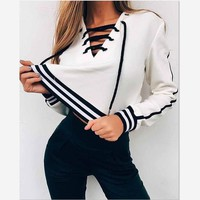One-nice™ 2016 Autumn Cute Lace up Hoodie Sweatshirt Women White Hoodies Striped Loose Casual Tracksuit Jumper Winter Pullover C