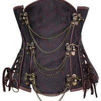 Atomic Brown Steel Boned Steampunk Underbust Corset