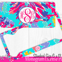 Aqua Floral Monogram License Plate Frame Holder Cover Metal Sign Car Tags Personalized Custom Vanity Red Lavender Lilly Inspired