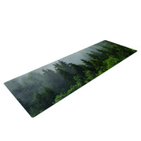 Foggy Forest Trees Yoga Mat