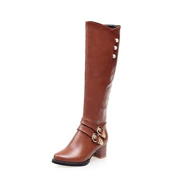 Studded Buckle Chunky Heels Tall Motorcycle Boots for Women 5376