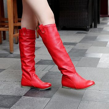 Soft Leather Knee High Boots Shoes for Woman 5483