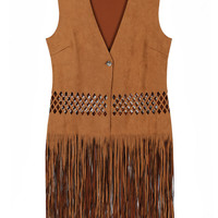 Brown V-Neck Cut Out Tassle Waistcoat