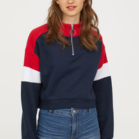 Stand-up Collar Sweatshirt - Dark blue/red - Ladies | H&M US