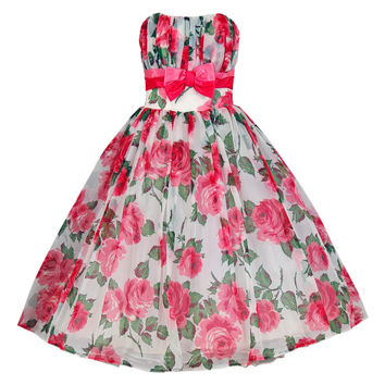 1950's Watercolor Pink-Roses Floral Print Strapless Full Party Dress