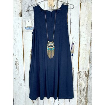Basic Pocket Tank Dress - Navy