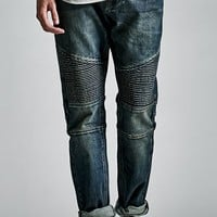 Bullhead Denim Co. Dark Indigo Moto Stacked Skinny Jeans - Mens Jeans - Blue