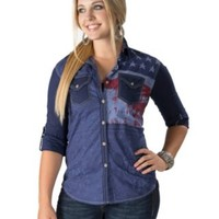Affliction Women's Navy Patriotic Long Sleeves to 3/4 Sleeves Western Shirt