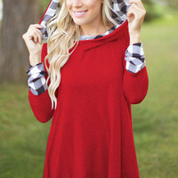Plaid Long Sleeve Loose Hoodie Shirt