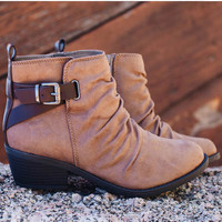 Kira Buckle Booties - Taupe