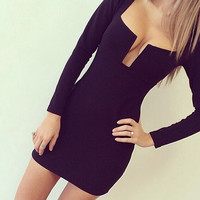 Black V-Neck Long Sleeve Bodycon Dress