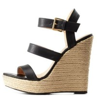 Black Three Band Espadrille Wedge Sandals by Charlotte Russe
