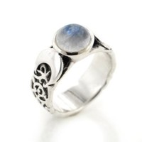 Sterling Silver Lunar Moon Phases and Rainbow Moonstone Ring(Sizes 4,5,6,7,8,9,10,11,12)
