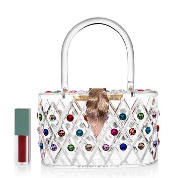 """1950 Vintage Style """"The Queen"""" Rainbow Colorful Crystal Acrylic Lucite Box Clutch Bag"""