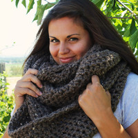 Oversized Infinity Scarf, Cowl Crochet- Barley Brown