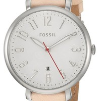 Fossil Jacqueline Matte WHT Dial Brown Leather Band Women Watch ES4206