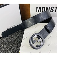Gucci new belt silver + black metal GG buckle all printed pattern fashion belt