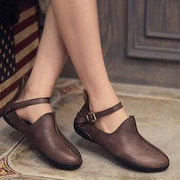Handmade Retro Leather Flat Shoes for Women Strapy Shoes, Simple Soft Leather Shoes,Pointed Toe leather Shoes, Vintage black / gray Shoes