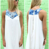 Cruise Wonders Ivory & Denim Embellished Neck Sundress