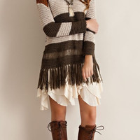 Colorblock Fringe Sweater