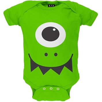 Halloween Monster Face Costume Green Baby One Piece