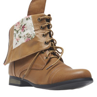 Rose Print Foldover Combat Boots   Wet Seal