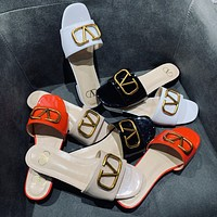 Valentino new ladies sexy Ⅴ button slippers