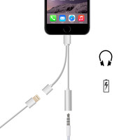 Original 2 in 1 3.5mm Earphone Headphone Jack Adapter Connector Convertor Cable Aux with Charging For iPhone 7 Plus