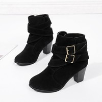 Women Casual Buckle Strap Suede Ankle High Heeled Boots