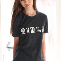 Girls Relaxed Tee - Acid Wash Black