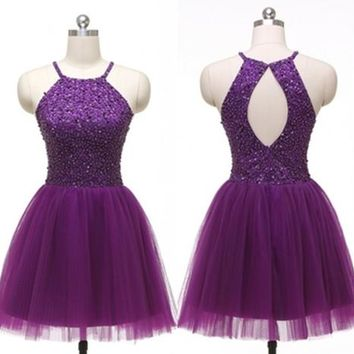 Halter Open Back Purple Homecoming Dress, Dress for Homecoming