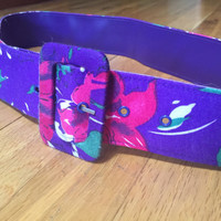 Purple Floral Belt, Vintage 1980s Belt, Purple Belt, Early 80s Belt Late 70s Belt 80s Vintage Belt Working Girl Summer Belt Fabric Belt M
