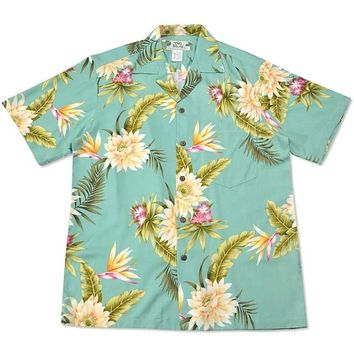 mountain green hawaiian rayon shirt
