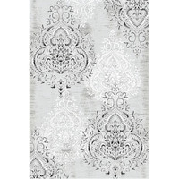 Damask Gray and Ivory Area Rug