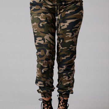 Trendy Elastic Waist Drawstring Army Pants