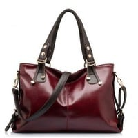 Buenocn Women Genuine Leather Handbag Large Shoulder Bag Shy361 (wine red)