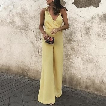 Women Jumpsuits Romper Casual Jumpsuit Solid Yellow Sexy Spaghetti Strap Jumpsuits