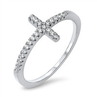 925 Sterling Silver CZ Simulated Diamond Sideway Cross Ring 9MM