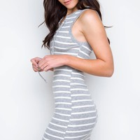 Love Letters Striped Lace Up Dress - Gray