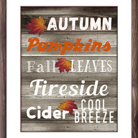 Printable Rustic Autumn Subway Art, On Sale, Fall Wall Decor, Instant Download