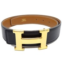 Auth HERMES Constance H Reversible Belt Box Calf Courcheval Black Brown /042650