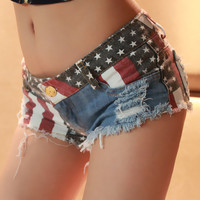 American Flag Distressed Denim Short