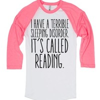 Reading, Sleeping Disorder-Unisex White/Neon Heather Pink T-Shirt