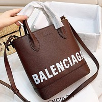 Balenciaga New fashion letter print bucket bag shoulder bag handbag Coffee