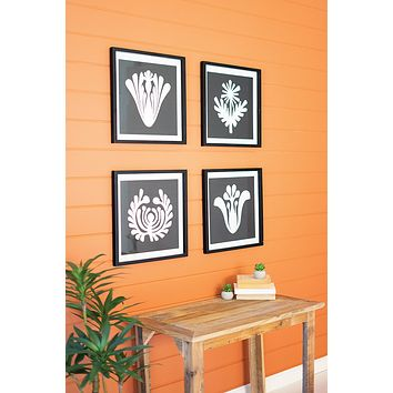 Set Of 4 Framed Black & White Graphic Prints Under Glass