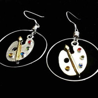 Paint pallet earrings, artist hoop earrings, dangle earrings